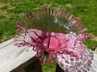 Vintage Large Fenton Pink Cranberry Centerpiece Glass Bowl Frilled Ruffled Edge