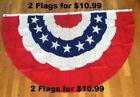 3x5Ft AMERICAN USA BUNTING FLAG FAN PARADE BANNER FLAG RED WHITE BLUE 2 FLAGS