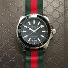 Gucci 45mm Dive Watch on Green & Red Nylon Web NATO Strap YA136206