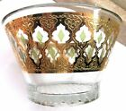VTG MID CENTURY MODERN 22K GOLD GREEN CULVER VALENCIA MCM RETRO GLASS BOWL 7 1/4