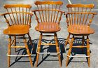 3 Vintage Ethan Allen Heirloom 10 6095 Nutmeg Maple Swivel Bar Counter Stools