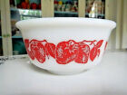 Hazel Atlas Platonite Milk Glass Bright Red Strawberry Mixing Nesting Bowl NICE