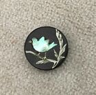 Wonderful Old Button MOP Shell Inlay of Bird Perched on a Silver Twig 5/8