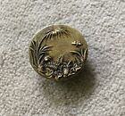 Antique Brass Picture Button Flowers, Palm Leaves, Insect  7/8