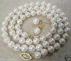 "8MM white South Sea Shell Pearll necklace earring 18"" AAA"