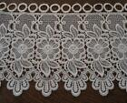 Vintage Wide Schiffli French Embroidered Lace Trim Valance Curtain Ivory 2 Yards