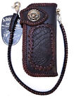 Black Leather Biker wallet Idian Chief Skull motorcycle chain Hand woven Croc