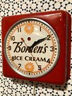 Vintage General Electric Bordens Ice Cream Clock Advertising Dairy Milk Sign Old