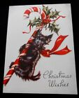 Vintage Black Scottie Dog Red Bow Chritsmas Card~Candy Cane~Holly~Unused
