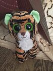 """STRIPES TY BEANIE BOOS BOO'S retired 6"""" TIGER NO HANG TAG Solid Green eyes GUC"""