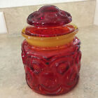 Vintage L.E. Smith Moon and Stars Canister Jar Red and Amber Amberina about 5