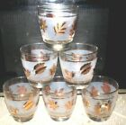 Vtg 50's Libbey Gold Foliage Leaves on Frost Band Old Fashion Glasses (6)