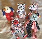 Ty Beanie Babies Veterans Independence Day July 4th Stars Stripes Lot Bear Eagle