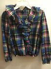 ralph lauren Girls Drrss Shirt Christmas plaid Long Sleeve Blue Red Fancy 10