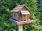 Large Bird Feeder Handcrafted Log Cabin Bird Feeder Made of reclaimed wood