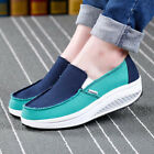 Womens Canvas Wedge Sneakers Casual Shake Shoes Slip On High Platform Breathable