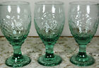 Set of 4 Libbey Glass Orchard Fruit Green Raised Fruit Stemmed Water Goblets EUC