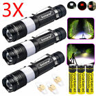 3 Sets 20000LM LED T6 Zoomable USB Rechargeable Flashlight Torch +18650 +Charger
