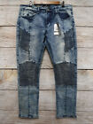 Rocawear Mens 34X30 Vintage Blue Cloud Skinny Stretch Moto Panel Jeans New