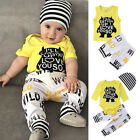 US Newborn Baby Boy Clothes Outfits Cartoon Monster Romper Tops Pants Shorts Set