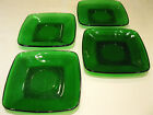 Vintage Anchor Hocking CHARM FOREST GREEN Glass Square Saucers Set of 4