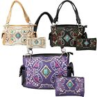 Western Purse Turquoise Concho Native Aztec Conceal Carry Handbag Wallet Set