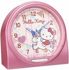 Seiko Clock Alarm Clock Ello Kitty Talking Alarm Analog Pink Cq134P New