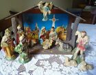 Vintage Nativity Complete Set of 12 plus a Lighted Stable Stamped Japan