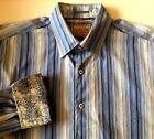 Italia Reserve Stock Blue and White Striped Flip Cuff Button Down Shirt Size XL