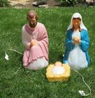 3 Piece Vintage General Foam Blow Mold Lighted Nativity Set Jesus Mary Joseph