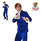 60s Gigolo Costume Groovy Powers Mens Fancy Dress Blue Austin Suit Outfit New