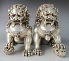 Chinese old Tibetan silver carved pair foo dog lion statue 4.8