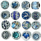 Blue CZ 925 Sterling Silver European Spacer Charms Beads Pendant Fits Bracelets