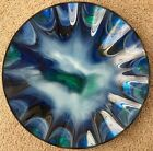 Hand Made Blue Glass Plate Wall Mounting 16 Signed By Artist