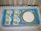 Vintage Paisley Coffee Cups and Saucers Set / New Old Stock / Still In Ori Pak