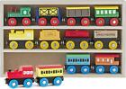Wooden Train Set 12 Pcs Magnetic Includes 3 Engines-Toy Train Sets for Kids