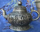 Heavy antique Chinese metal silver color teapot detailed figural design