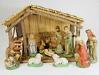 Vintage 11 Piece Hand Painted Nativity Wood Stable With Reed Roof Sears 97890