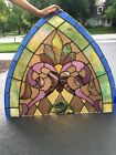 Antique small arched stained glass window church 160 year old 1858
