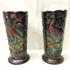 PAIR of Vintage Fenton Peacock Vase Amethyst Carnival Glass Ruffled Top Estate
