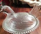 Clear Indiana Hen on a Nest Glass Candy Dish in Excellent Condition.