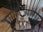 Primitive Halloween Black Cat Doll with Hooked Face