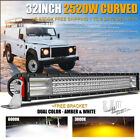 "Curved 32"" Inch 2520W Led Work Light Bar Combo Beam Offroad For jeep Fog VS 42"""