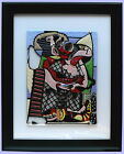 Handmade original Fused Glass Painting of KISS inspired by Picasso