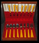 Mid Century Modern Carved Celluloid Flatware Stainless Steel Set in Wood Present