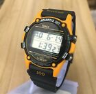 Timex Atlantis 100 Vintage Mens Digital Watch-Alarm Chrono Light-Orange-Rare-EUC