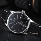 41.5mm Parnis black dial polished case seagull automatic date movement watch