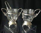 Victorian silver plated sugar bowl  creamer with etched cut glass inserts