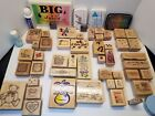 WOOD RUBBER MISC STAMP LOT 55 PIECE STAMPIN UP SCRAPBOOKING INK PADS