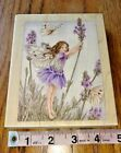 STAMPS HAPPEN INCLARGE LAVENDER FLOWER FAIRY rubber stampwood mount